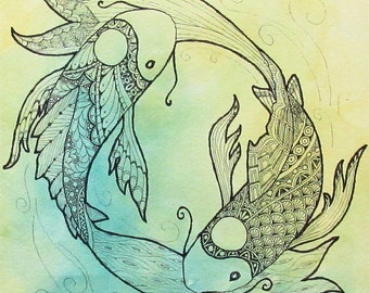 "Koi Fish Art - Watercolor Art Print - Zentangle Art - Yin Yang Art - 8""x10"" art print - Zen Fish - Green and Yellow - Home Decor - Calming"