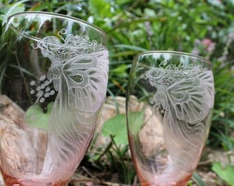 Pink fairy glassware  set of two hand engraved water goblets - iced tea glasses   stemware barware drinkware entertaining for the home