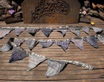 Tribal Bunting Double Sided Beautiful Indigo Batik Decoration