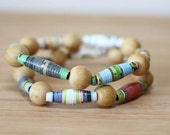 Winnie The Pooh Recycled Paper Bead Bracelet Set, Elastic Stacked Bracelet Set Perfect for Teacher Gift, Librarian Gift, Book Lover Gift
