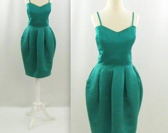 Vintage 1980s Designer Adrienne Vittadini Crop Bustier and Wiggle Skirt 2 Piece Cocktail Dress in Emerald Silk - Small Medium