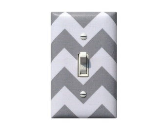 Chevron Light Switch Plate Cover / Gray and White Girls Room Boys Bedoom Nursery Decor Bathroom / Switchplate Slightly Smitten Kitten