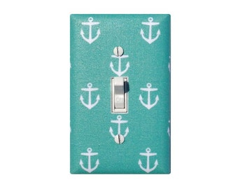 Aqua Anchor Switchplate / Baby Girl Nautical Nursery Decor Light Switch Plate / Girls Room Turquoise / Slightly Smitten Kitten