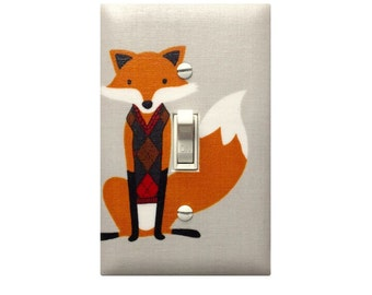 Gray Fox Nursery Decor / Light Switch Plate Cover / Baby Girl Boy Classy Argyle / Gender Neutral Kids Room / Houndstooth Foxes Grey