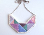 Hand embroidered necklace geometric light colors lavender, purples, pink and mint green modern embroidery An Astrid Endeavor