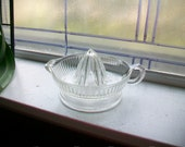Vintage Pressed Glass Reamer Juicer 1940s Ribbed Pattern Clear Glass