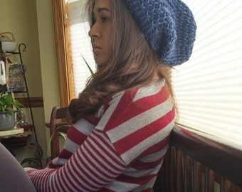 Striped Slouchy Beanie - Blues
