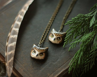great horned owl // poly clay woodland animal totem necklace