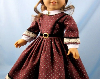 1860s Civil War Era Dress - Doll Clothes American Girl - 18 Inch Doll Clothes Dusty Plum - Addie - Marie Grace - Cecile