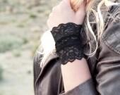 Black Lace Bracelet Cuff, Stretch Cuffs, Black Lace Wrist Cuff, Arm Band, Wristband Wrist Tattoo Cover Up, Boho Bracelet, Long Arm Cuffs