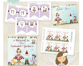 Woodland Fairy Birthday Party Package- Printable PDF files. Fairy and gnome in purple red and green. Multiple color and hair options