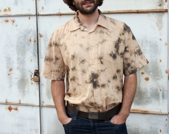Vintage Men's Tie Dye Acid Wash Cotton Button Down Short Sleeve Shirt
