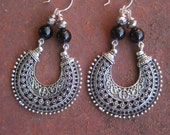 Statement Bohemian Gypsy Moroccan Filigree Crescent Dangle Black and Silver Earrings