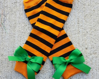 Black and Orange Striped Leg Warmers with Bows - Choose Bow Color - Baby and Girl Legwarmers - Halloween
