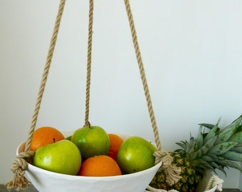Extra Large Hanging Ceramic Fruit Basket, Jute or Cotton Cord, Hand Carved Geometric or Smooth Porcelain Bowl Design