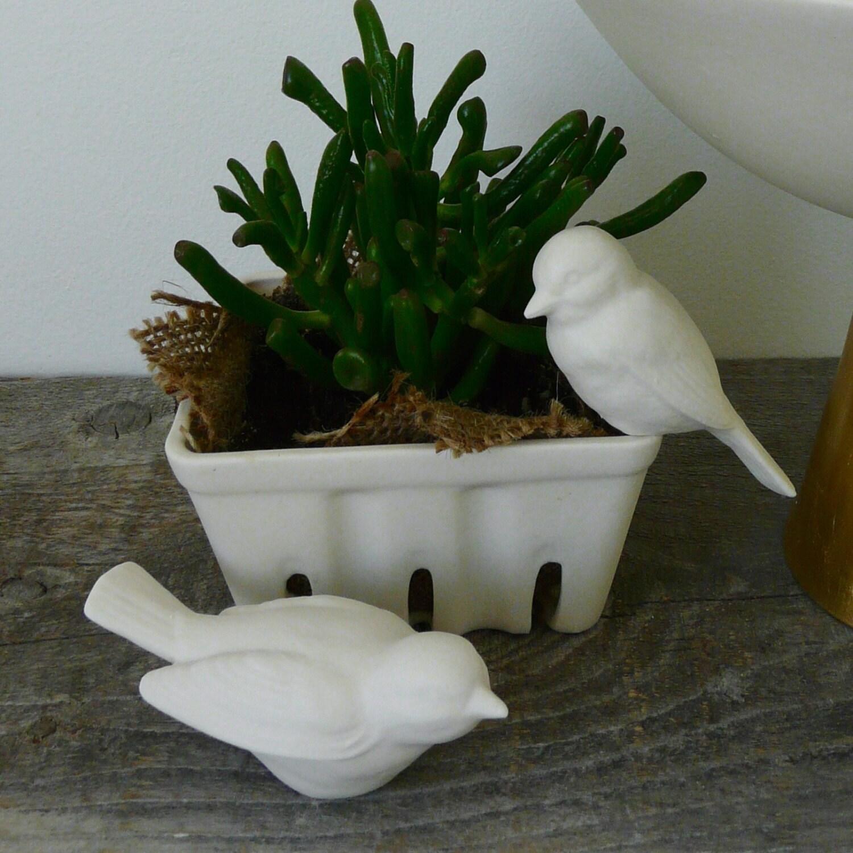 Porcelain Terrarium Bird, Ceramic Figurine