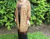 Womens Long Kimono Jacket Gold With Fringe, Indonesian Batik  - Naomi