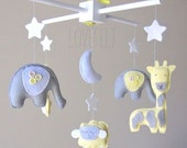 Baby Mobile -  Baby mobile animails - Elephant mobile Mobile - Sheep Mobile - Yellow and Gray Mobile
