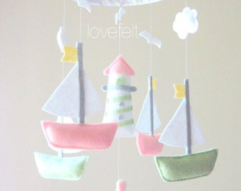 Baby Mobile - Nautical Theme Mobile - Sailboats mobile - anchor mobile