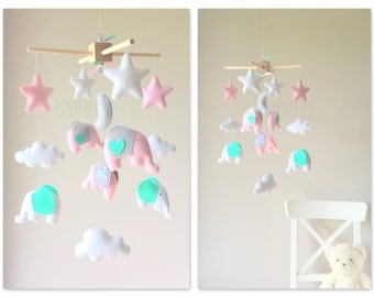 Baby Mobile - Elephant Mobile - Nursery Mobile - Baby girl Mobile - Pink and Mint Mobile