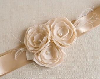 Champagne Wedding Sash, Bridal Flower Sash, Champagne Chiffon Flower Sash, Tan Ribbon Narrow Belt, Bridesmaids Sash - READY TO SHIP