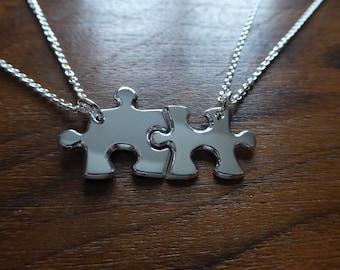 Best Friends Necklaces Medium Sized, Two Silver Puzzle Piece Pendants