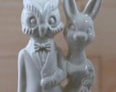 Owl Weds Bunny Wedding Cake Topper