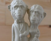 Chimp Couple Handmade Ceramic Wedding Cake Topper