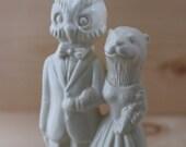 Owl groom and Otter bride Handmade ceramic Wedding Cake Topper
