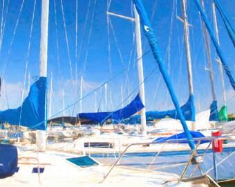 Sail boats on Lake Travis in Austin TX, Boating in Texas, Boating decor, Marina photography, Sailboat photography