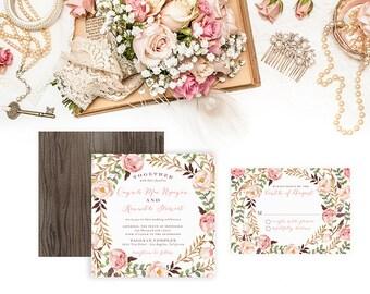 Bohemian Wedding Invitation Set - Pale Pink Flowers - Roses Peonies - Boho Watercolor Invitation - Square Invitation - Fall Spring - Quynh