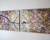 Commission Large Contemporary Love Birds in Tree Acryic Painting Canvas Over Bed Couch Hearts Tree Silhouette Diptych 18x48 JMichael