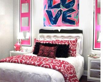 Teen Wall Art, Navy Pink Bedroom Painting, Love Painting