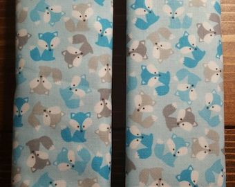 Reversible TODDLER Car Seat Strap Covers Ann Kelle Mini Foxes in Blue with Turquoise Dimple Dot Minky Baby Infant Boy Accessories ITEM #036