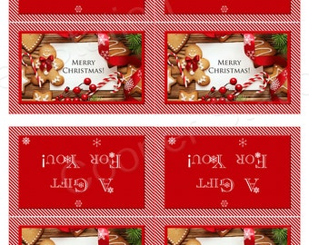 Digital Printable Christmas Folding Gift Tag