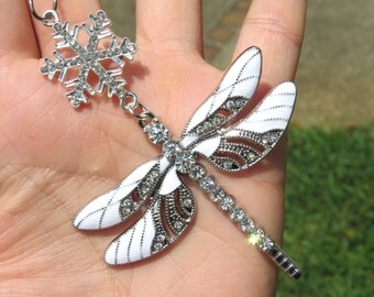 DRAGONFLY SNOW Sparkling Tree Jewelry Christmas Ornament
