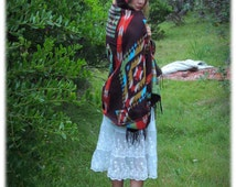 Navajo hooded cape / Big cosy reversible ethnic double sided fringed blanket shawl cloak  / Browns reds greens Mexican Aztec design