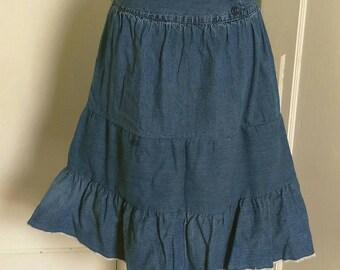 Upcycled Tiered Denim Skirt Women's /Junior's