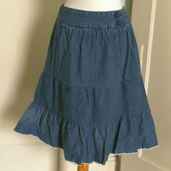 upcycled tiered denim skirt s junior s