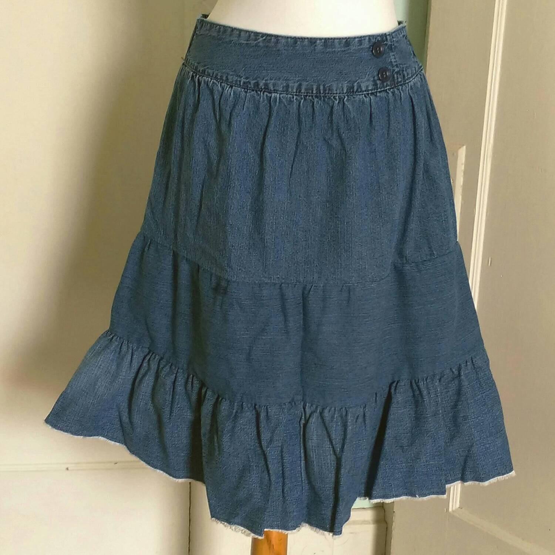 upcycled tiered denim skirt s junior s