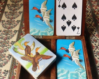 Two Decks of Wild Duck Cards in Wooden Case, 50s Card Storage Box