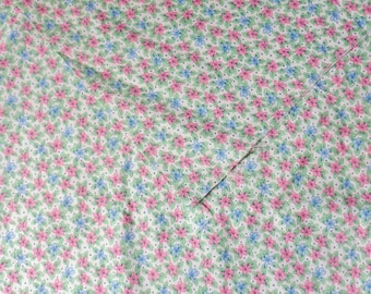 """Pink and Blue Floral Fabric,  1 3/4 yd x 44"""" Cotton Calico Fabric"""