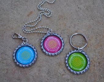 2016 Young Women theme- Bottle Cap Zipper Pulls, keychains & necklaces