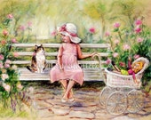 Kitty Cat, kitten Little girl, kids friend, kids art decor, 'Chatting With My Friend ' Laurie Shanholtzer Canvas or Cotton art paper print