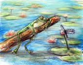 "Frog, dragonfly nursery, funny, wildlife, Canvas or art paper print, ""Are You Sleeping Little Frog?"" by Laurie Shanholtzer"
