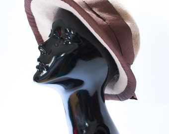Vintage 1970s 70s Womens Beige Fluffy Retro Floppy Felt Hat Medium Size 7 1/8
