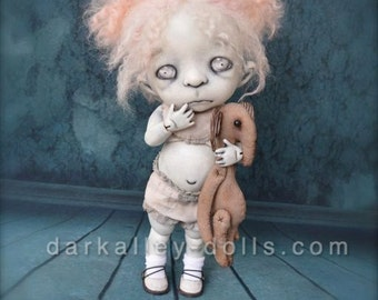 Giclee Fine Art Print. Dark Alley BJD Art Doll. Pink Haired Girl with a teddy Elephant.