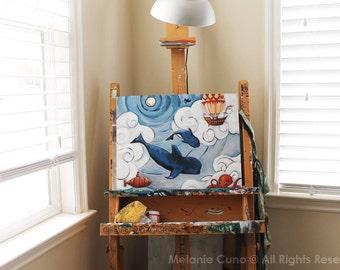 Whale Original Art/ Pilot Whales/ Whimsical Art/ Octopus/ Steampunk Themed Painting/ 16x20 Original Artwork