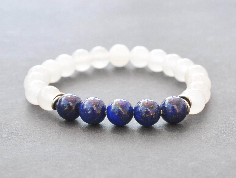 lapis lazuli white jade bracelet mens bracelet by. Black Bedroom Furniture Sets. Home Design Ideas
