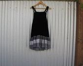 Funky Black Velvet Overall Dress/ Eco Upcycled Black & White Patchwork Dress S/M